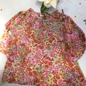 Charter Club floral blouse, size Large, Petite